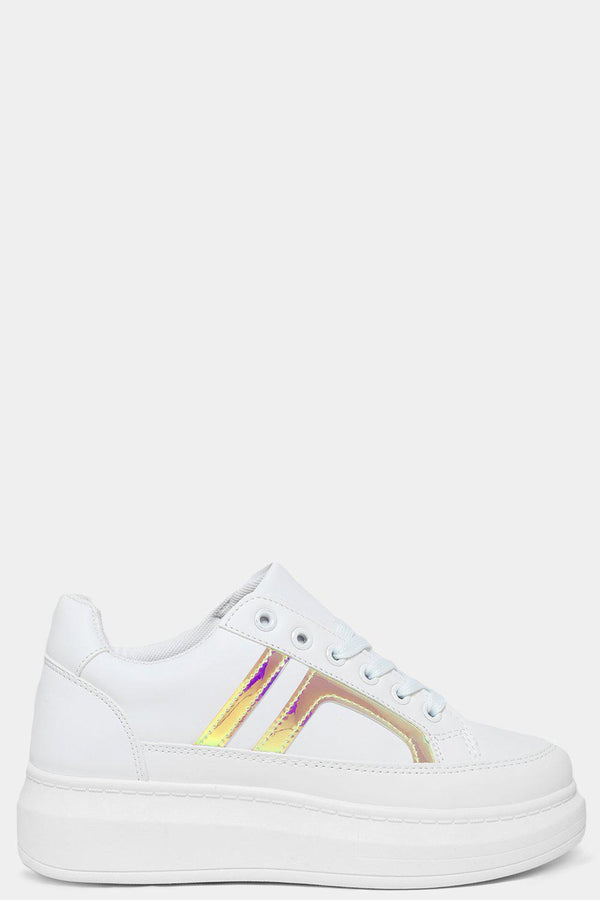 Holographic Yellow Side Details White Chunky Trainers - SinglePrice