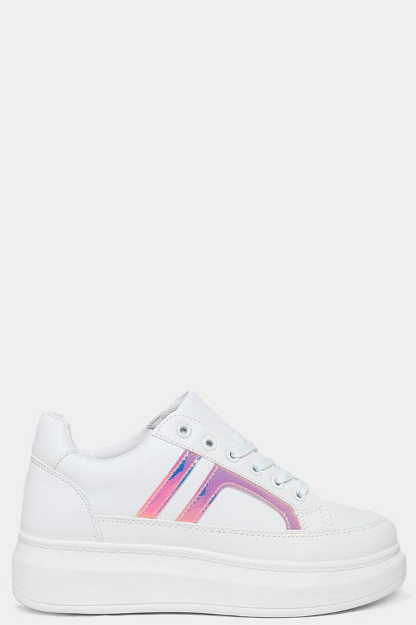 Holographic Pink Side Details White Chunky Trainers - SinglePrice