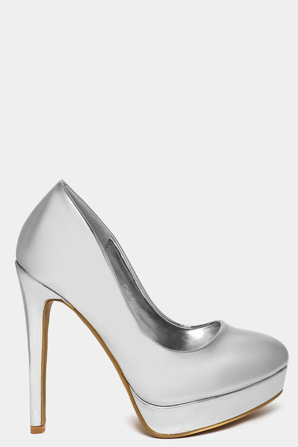 Vegan Leather Silver Mirror Extreme High Heels - SinglePrice