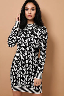 White Logotype Print Knit High Neck Dress - SinglePrice