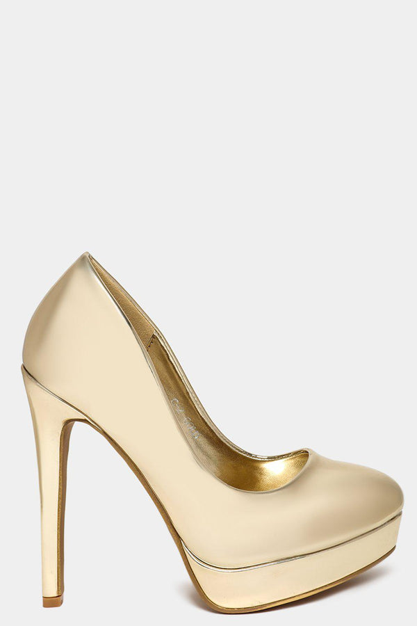 Vegan Leather Gold Mirror Extreme High Heels-SinglePrice