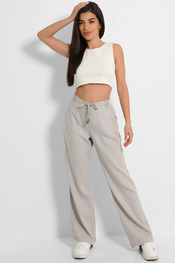 Grey High-Rise Linen Cotton Blend Wide Leg Trousers