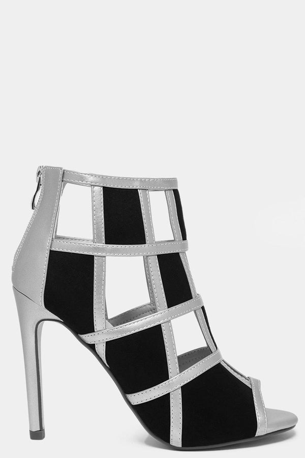 Silver Colour Block Vegan Leather Cage Heels - SinglePrice