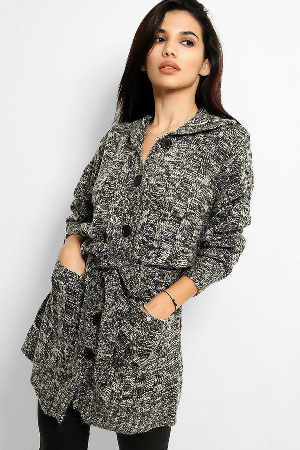 Black White Speckled Knit Hooded Cardigan - SinglePrice