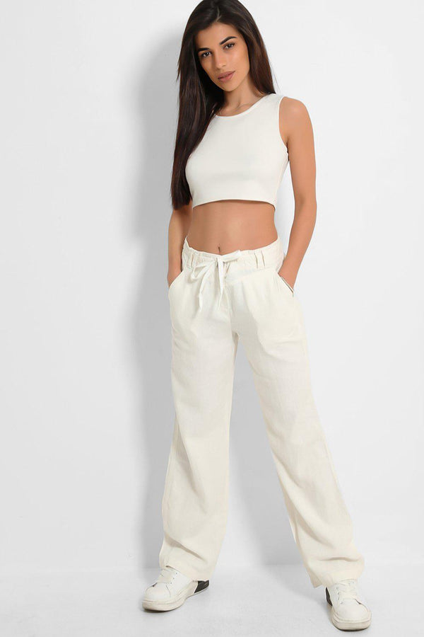 White High-Rise Linen Cotton Blend Wide Leg Trousers
