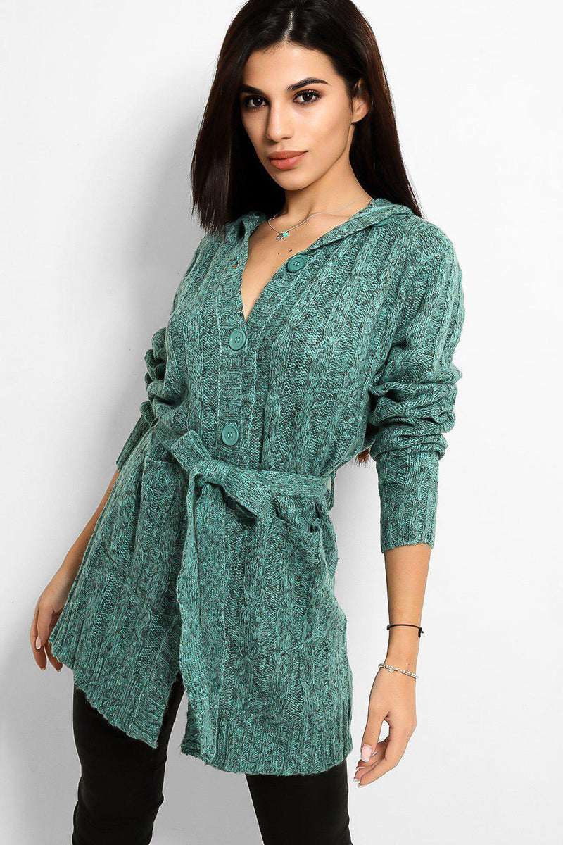 Teal Speckled Knit Hooded Cardigan - SinglePrice