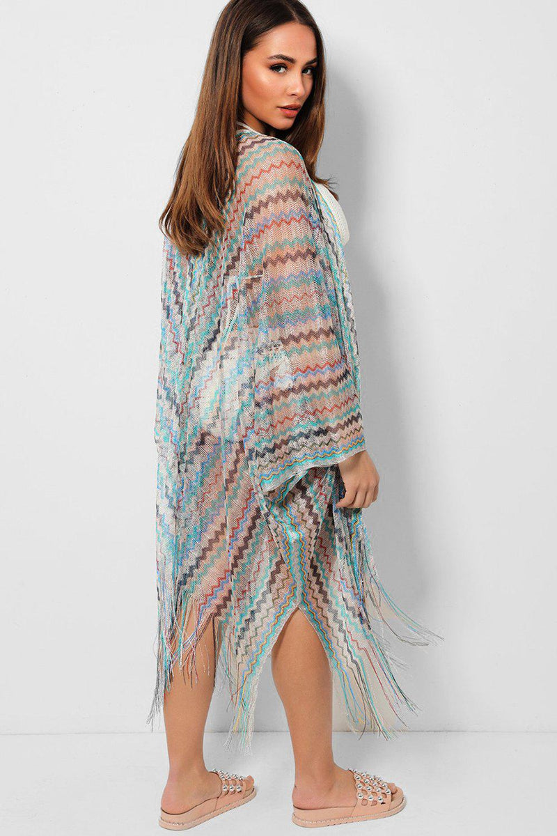 Light Multicolour Zig Zag Pattern Beach Cover Up - SinglePrice