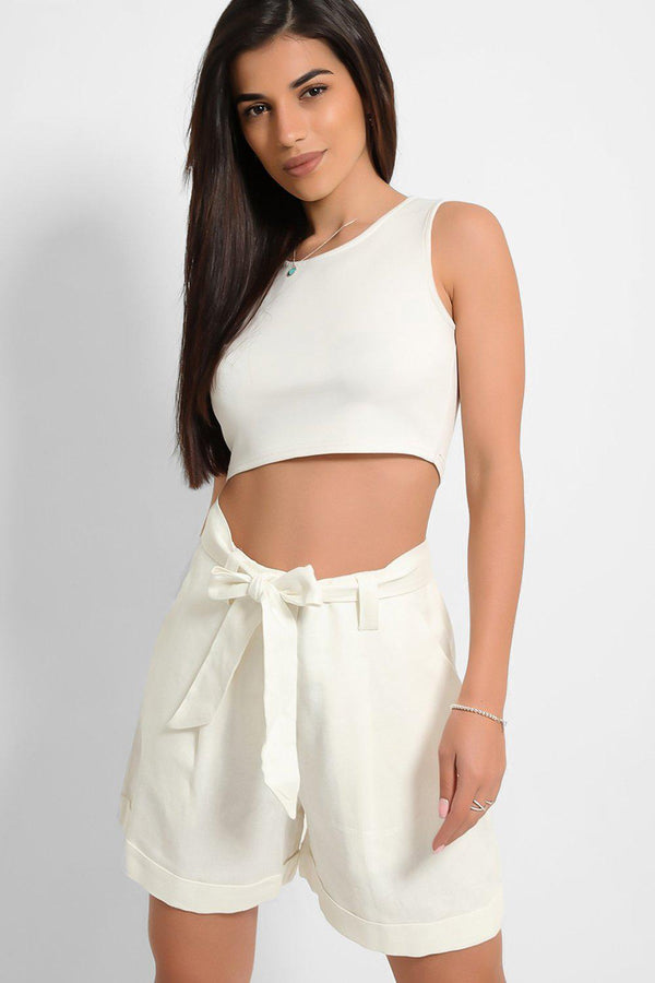 White Linen Blend Self-Belt Shorts-SinglePrice