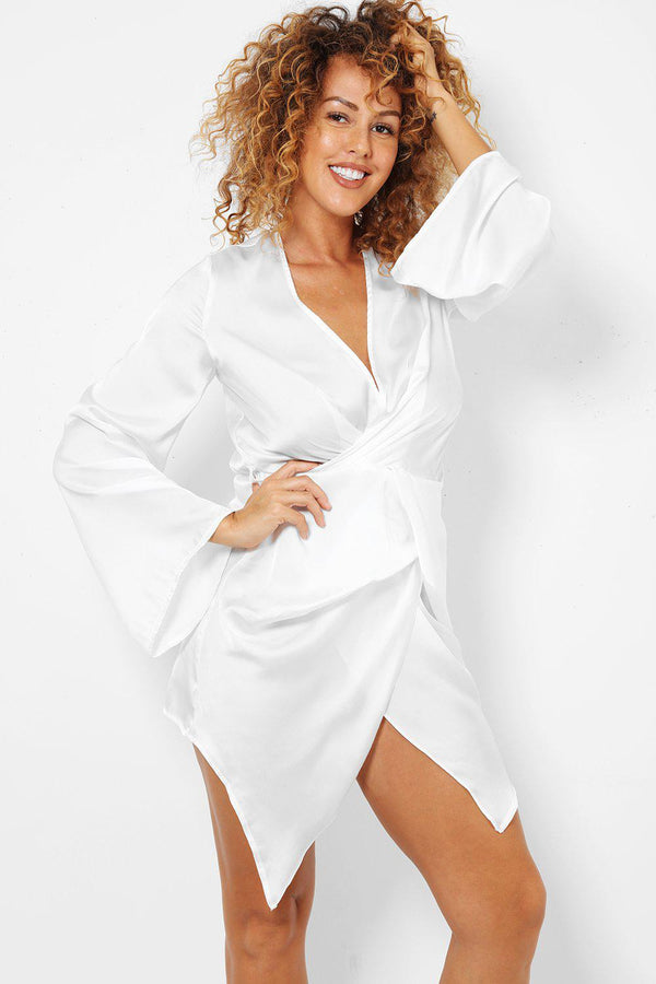 White Plunge Neck Flute Sleeves Wrap Dress