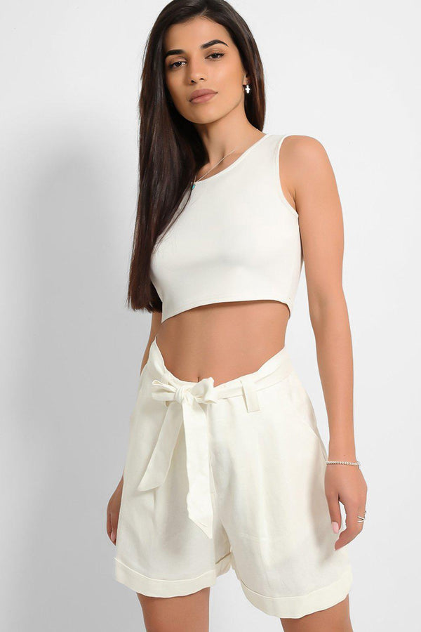 White Linen Blend Self-Belt Shorts
