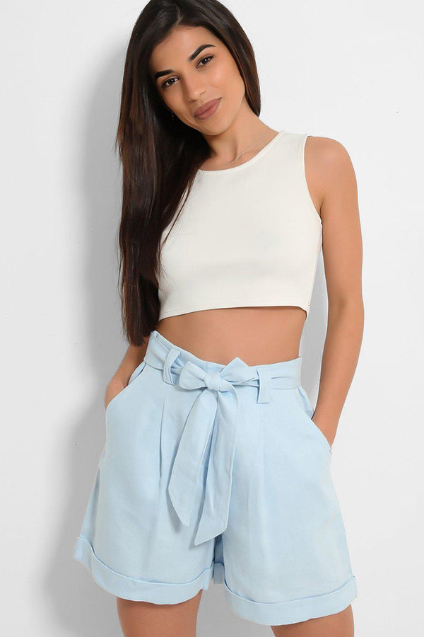 Blue Linen Blend Self-Belt Shorts
