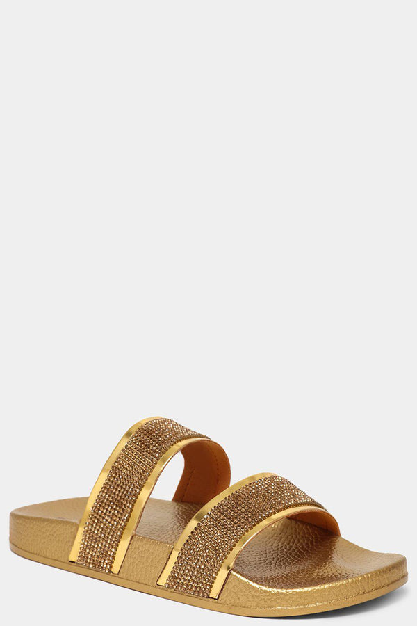 Gold Encrusted Twin Straps Sliders - SinglePrice