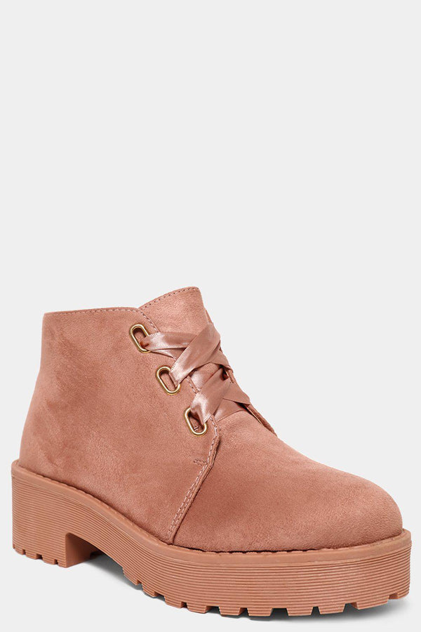 Pink Vegan Suede Satin Laces Ankle Boots - SinglePrice