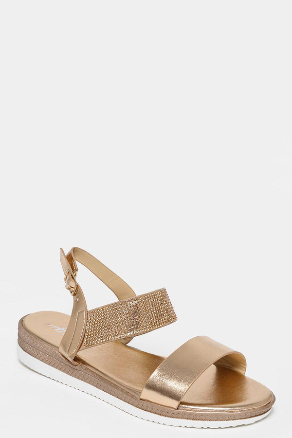 Crystals Embellished Strap Gold Sandals-SinglePrice