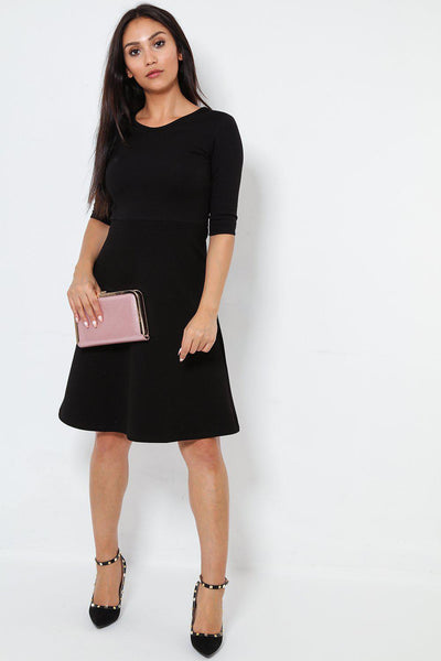 3/4 Sleeves Smart Black Skater Dress-SinglePrice