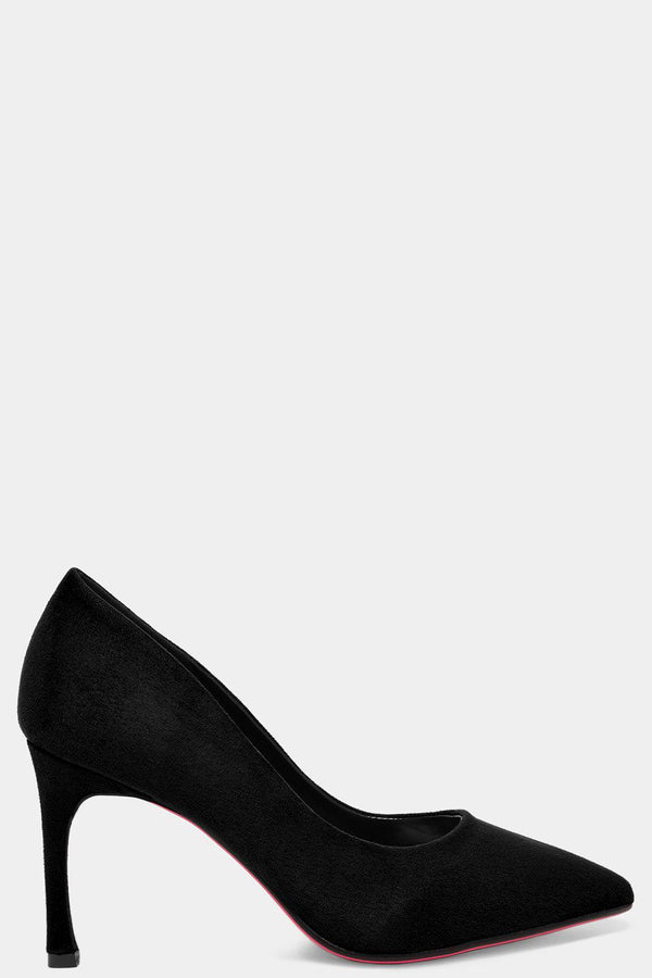 Black Vegan Suede Flared Stiletto High Heels - SinglePrice