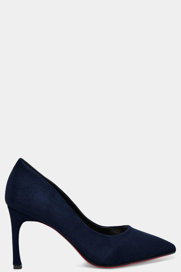 Blue Vegan Suede Flared Stiletto High Heels-SinglePrice