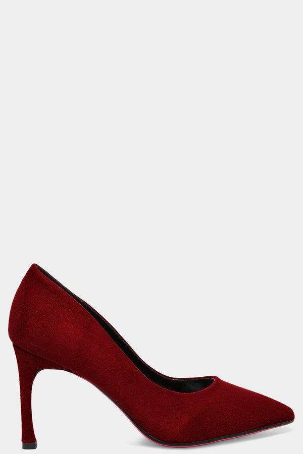 Burgundy Vegan Suede Flared Stiletto High Heels-SinglePrice