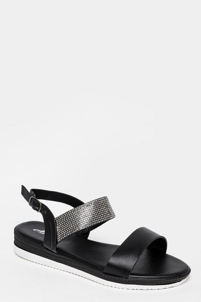 Crystals Embellished Strap Black Sandals