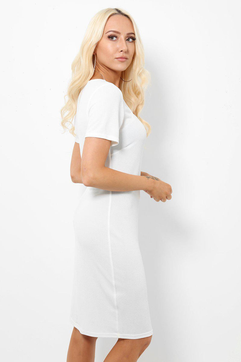 Smart Square Neck White Bodycon Dress - SinglePrice