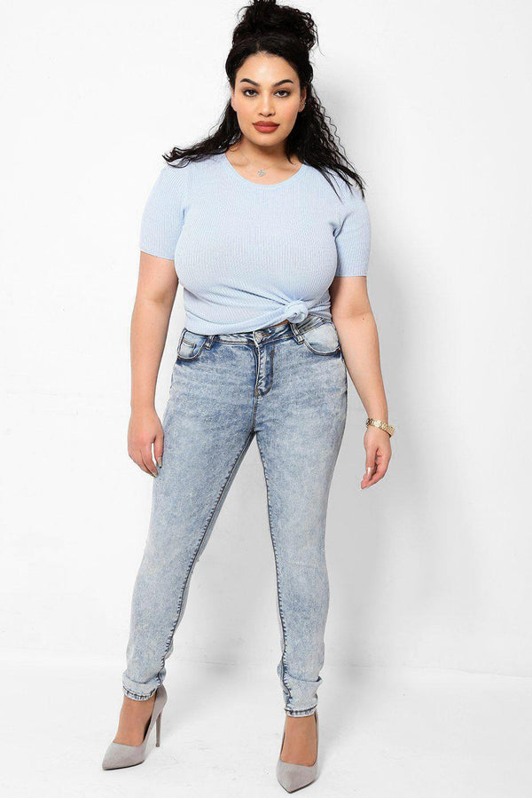 Distressed Finish Light Blue Curved Back Skinny Jeans-SinglePrice