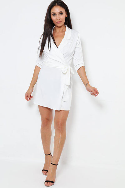 V-Neck White Satin Faux Wrap Dress-SinglePrice