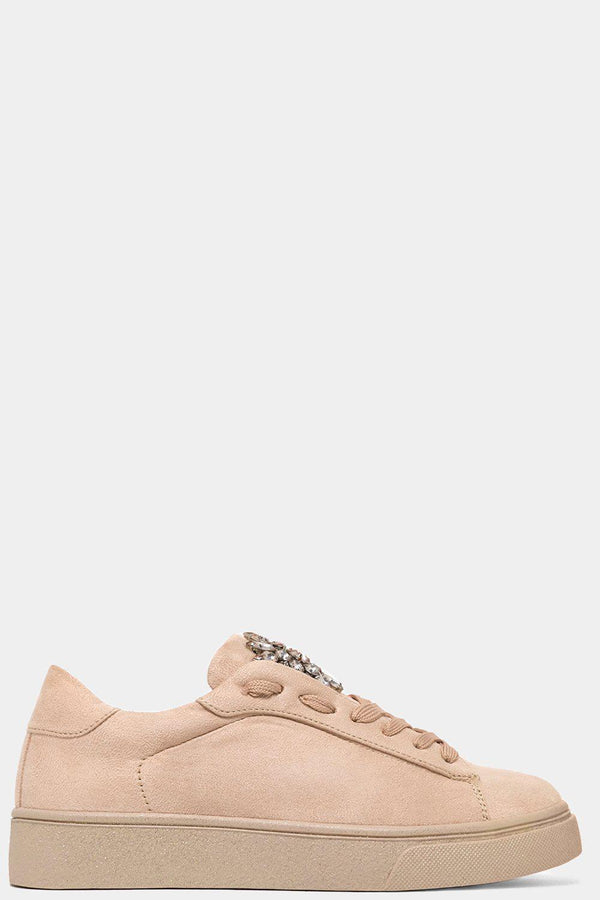 Beige Vegan Suede Jewels Embellished Trainers-SinglePrice