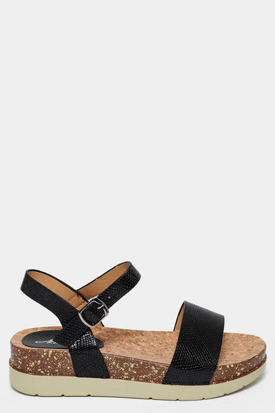 Black Snake Skin Cork Wedge Sandals