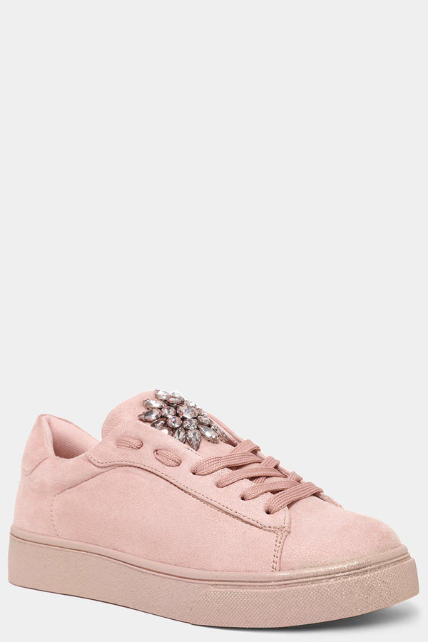 Pink Vegan Suede Jewels Embellished Trainers-SinglePrice