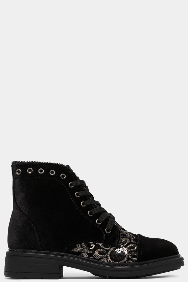 Black Sequins Embellished Panel Velvet Ankle Boots - SinglePrice