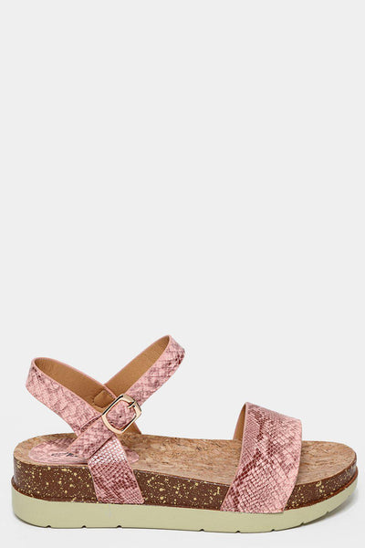 Pink Snake Skin Cork Wedge Sandals