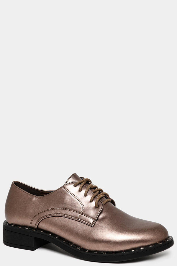 Bronze Studded Sole Oxford Shoes - SinglePrice