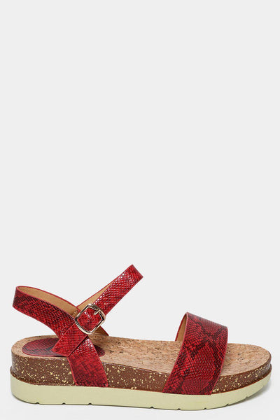 Red Snake Skin Cork Wedge Sandals