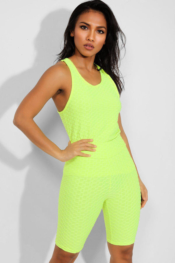 Neon Green Ruched Texture Midi Set - SinglePrice