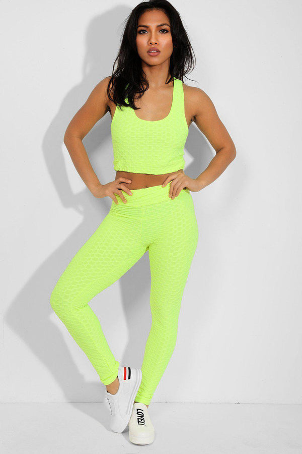 Neon Green Ruched Texture Crop Top And Leggings Set - SinglePrice