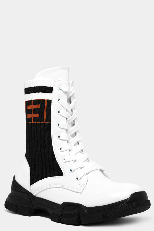 White Logo Print Ribbed Sock Panels Vegan Leather Ankle Boots-SinglePrice