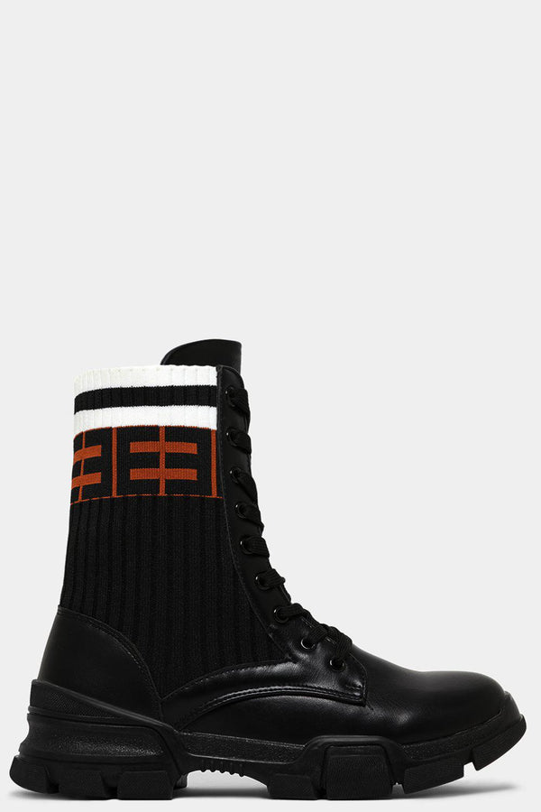 Black Logo Print Ribbed Sock Panels Vegan Leather Ankle Boots - SinglePrice
