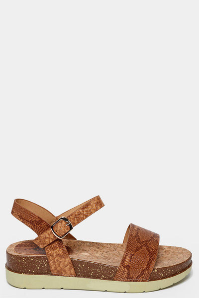 Camel Snake Skin Cork Wedge Sandals