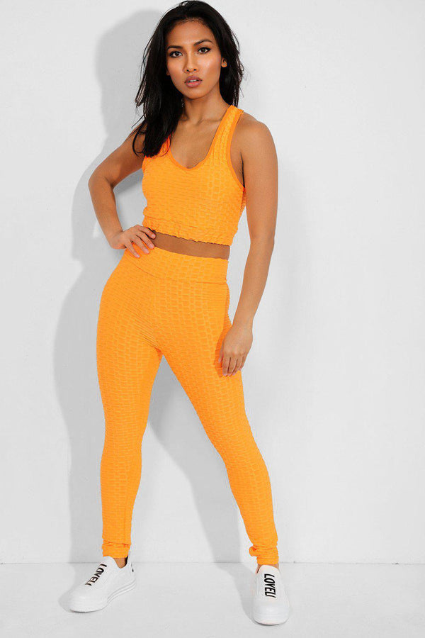 Highlighter Orange Ruched Texture Crop Top And Leggings Set - SinglePrice