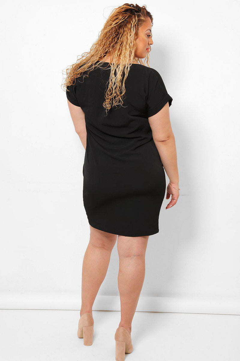 Short Sleeves Black Shift Dress-SinglePrice