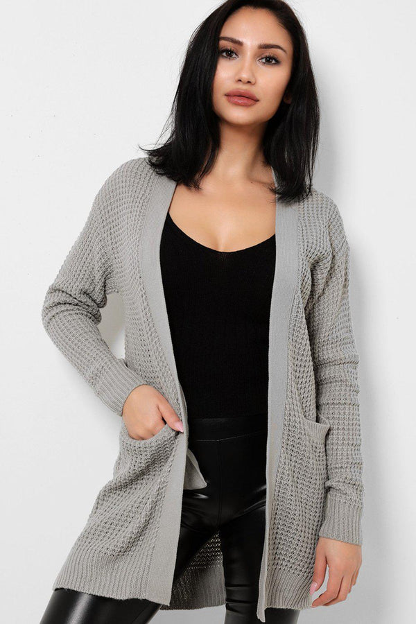 Grey Purl Knit Open Front Cardigan-SinglePrice