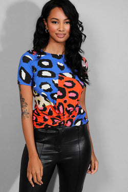 Multicolour Leopard Print Twisted Front Top - SinglePrice