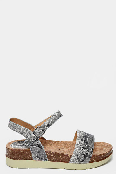Grey Snake Skin Cork Wedge Sandals