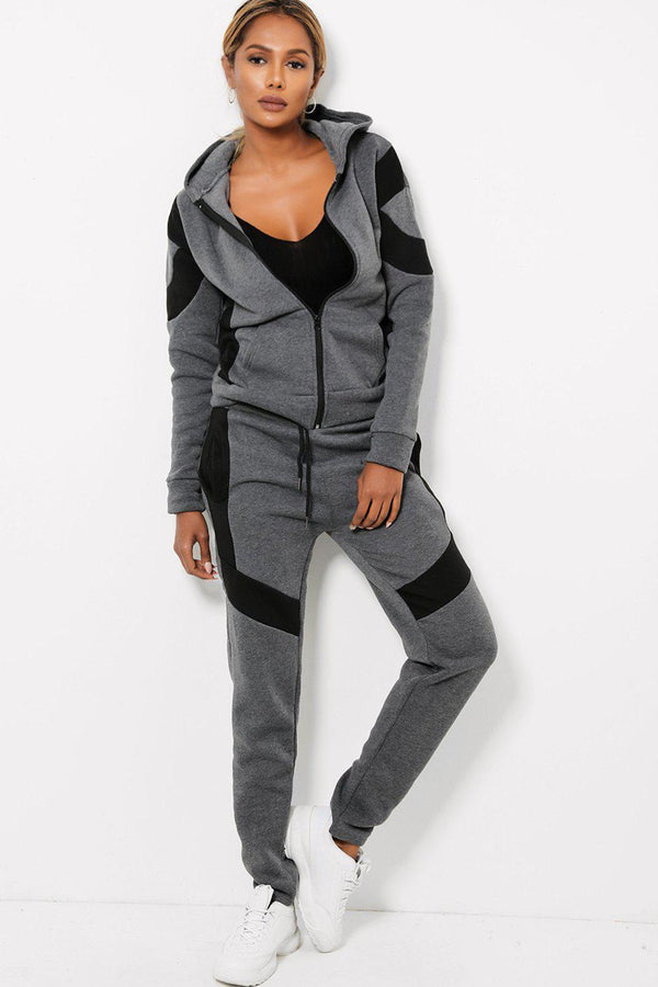 Contrast Colour Blocks Darkk Grey Fleece-Lined 2 Piece Tracksuit-SinglePrice