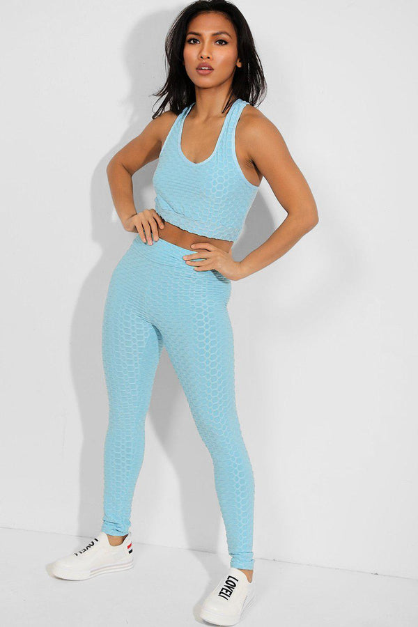 Sky Blue Ruched Texture Crop Top And Leggings Set - SinglePrice