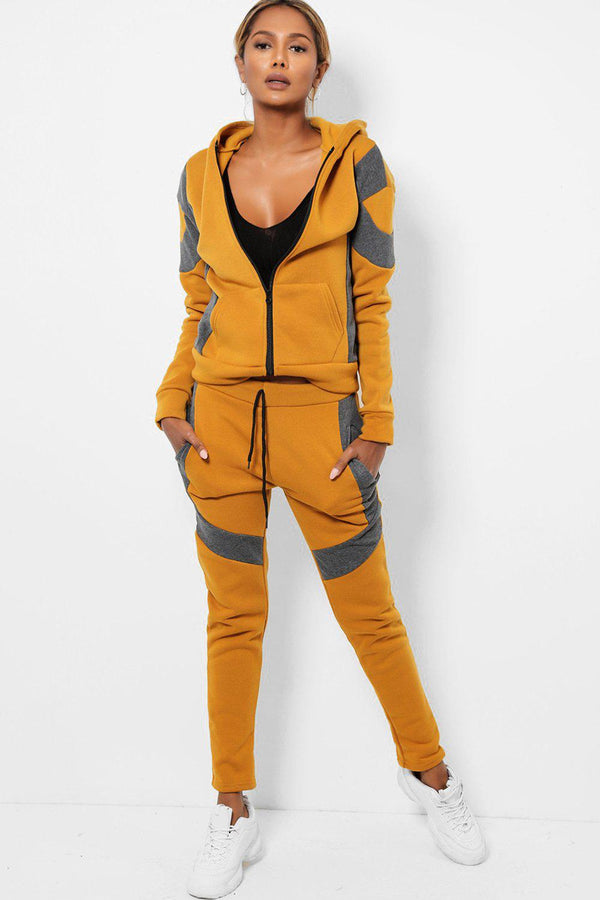 Contrast Colour Blocks Mustard Fleece-Lined 2 Piece Tracksuit-SinglePrice