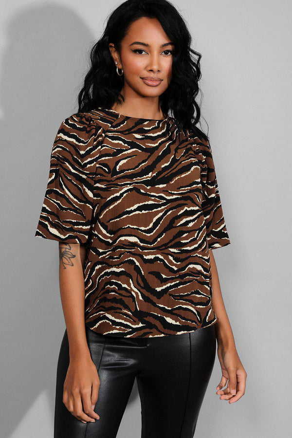 Brown Tiger Print Puff Shoulder Top - SinglePrice