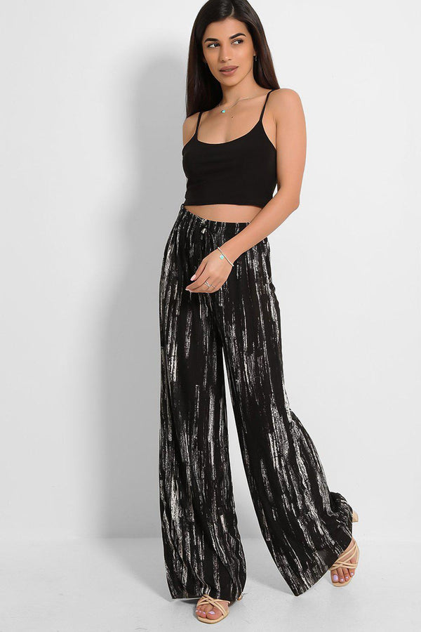 Black Speckled Print Pleated Finish Palazzo Trousers-SinglePrice