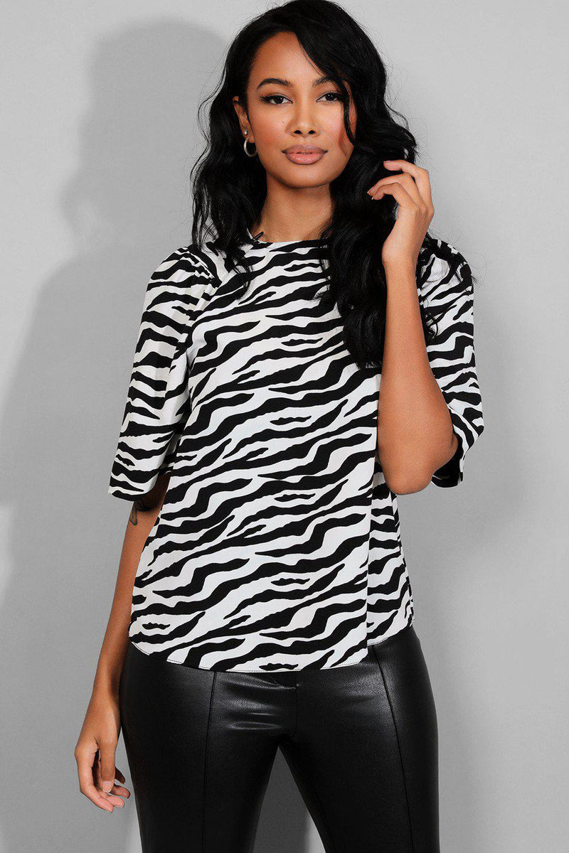 Monochrome Zebra Print Puff Shoulder Top - SinglePrice