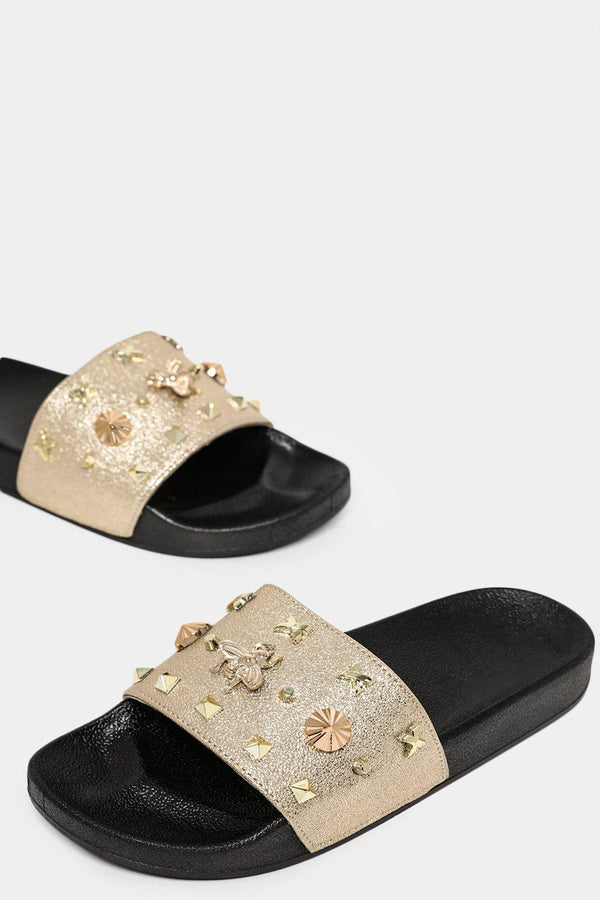 Gold Mixed Studs Embellished Sliders-SinglePrice